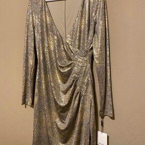 Calvin Klein Metallic Gold Faux Wrap Dress NWT